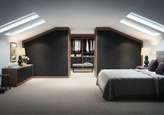 The Mayfair is a contemporary slab door wardrobe from IQ Furniture. – IQ Furniture The Mayfair is a contemporary slab door wardrobe from IQ Furniture. The Mayfair is a contemporary slab door wardrobe from IQ Furniture. Attic Master Bedroom, Attic Bedroom Designs, Attic Bedrooms, Attic Design, Bedroom Loft, Home Bedroom, Bedroom Decor, Interior Design, Bedroom Furniture