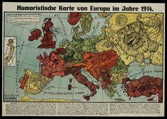 Germany's view of the world atlas in 1914. Ян - Юмористические географические карты столетней давности