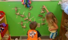 Play-Based Classroom toilet paper tubes, marbles and tape