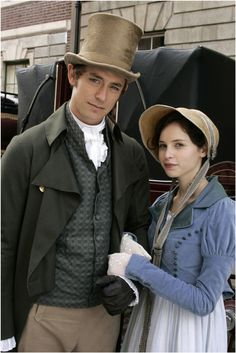 Awesome costumes and two of my favorite characters - - Catherine Morland & Henry Tilney ~ JJ Field and Felicity Jones - Northanger Abbey -