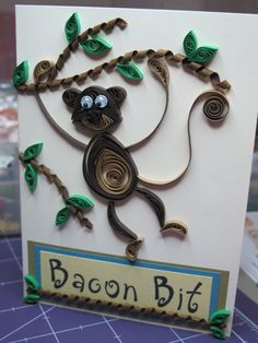 quilled monkey / baby shower card