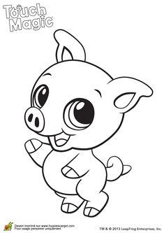 Ce petit cochon avec de grands yeux te faits un petit coucou, coloriage pour enfants