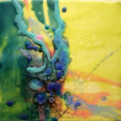 "Tao Te Ching #13 - Color the Way, Encaustic, 6"" x 6"", Gayle L. Curry, Copyright 2011"