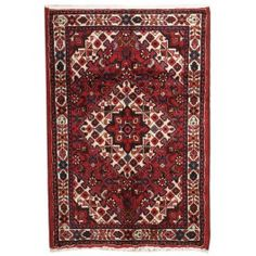 Handmade Rectangular Semi Antique Persian Hamada Area Rug in Red with White Accents, 3x4 area rugs