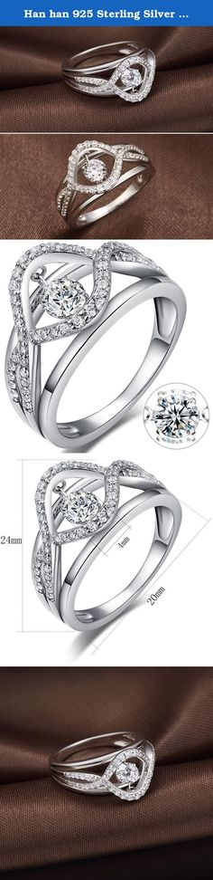 """Han han 925 Sterling Silver Dancing Diamond Cubic Zirconia Ring (8). We provides Premium Quality sterling silver CZ cubic zirconia stone ring. Best design """"diamond"""" ring for women available on the market for affordable prices. We keep our Quality Guarantee promise. If you are not satisfied with your purchases, just simply contact us, we will make things right. What is Dancing Diamond? What makes a diamond dance? Our revolutionary exclusive design allows the central """"diamond"""" of our stud..."""