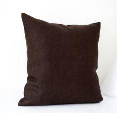 Linen sham - chocolate brown - throw pillows - pillow cover - cushion case - 26x26
