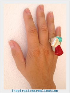 inspiration and realisation: DIY Fashion - 4th of July statement ring: turquoise + pearl + coral