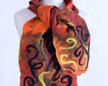 Naranja, rojo, marrón, amarillo y marrón bufanda con aguja patrón de fieltro fieltro - ardiente, chal de lana artesanal de diseño de la llama [S123]