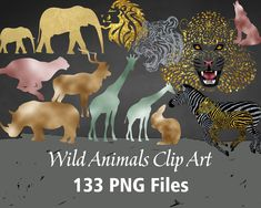 Wild Animals Foil and Glitter Clip Art Silhouette Clip Art, Animal Silhouette, Printable, Digital, Handmade Gifts, Animals, Etsy, Vintage, Kid Craft Gifts