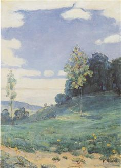 Landscape with two small trees, c.1893 - Ferdinand Hodler - WikiArt.org