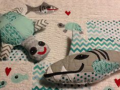 Under the sea, stuffed shark, turtle, Vintage chenille baby Blaket Moxieandzab@yahoo.com London, ont Shipping available