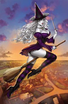 Fantasy Art Women, Dark Fantasy Art, Fantasy Girl, Fantasy Witch, Witch Art, Beautiful Witch, Cartoon Girl Drawing, Airbrush Art, Sexy Cartoons