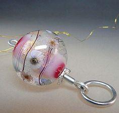 Sunday Morning Cuddles Pendant by Manuela Wutschke - handmade lampwork glass round bead and silver