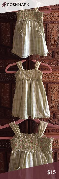 Janie & Jack Smocked Dress Janie & Jack Green gingham dress with front pockets and smocked flower detail on front. Size 3-6 months. Excellent condition Janie and Jack Dresses