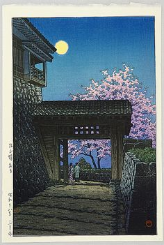 I find the quality of light shown so interesting. Kawase, Hasui 1883-1957 - Full Moon over Matsuyama Castle