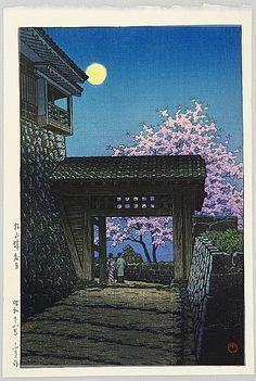 Hasui Kawase 1883-1957 - Full Moon over Matsuyama Castle