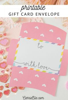 A printable gift card envelope is perfect for Valentine's Day, showers, birthday parties & more. It's a great way to dress up a gift card! Printable Gift Cards, Printable Planner Pages, Valentine's Day Printables, Free Gift Cards, Printable Invitations, Valentine Day Crafts, Valentines, Money Cards, Card Envelopes
