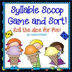 Syllable Scoop Game and Sort!Practice reading and identifying words with one to…