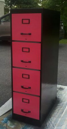 filing cabinet redone  With matching color to wall on front