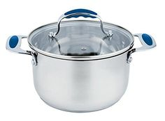 Europware 0163-20SP Stainless Steel 4 quart Casserole Pan with Glass Lid, Medium, Silver/Blue *** Startling review available here at : bakeware
