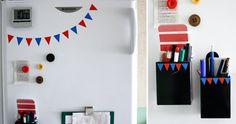 kylskåpsdekoration: vimplar av självhäftande plast
