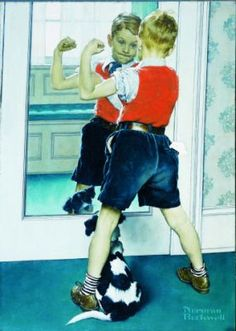 Checking those muscles - Norman Rockwell