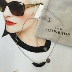 "Alexis Bittar Crescent Necklace. Price firm. A sleek crescent of Hand Carved and Hand Painted Lucite is capped with high shine Silvertone to create an edgy and modern pendant.  16"" length with 3"" length extend. Alexis Bittar Jewelry Necklaces"