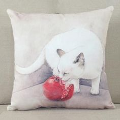 Pomegranate cat throw pillow for home decoration couch cushions