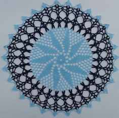 Navy blue and light light blue doily 12 inches in diameter, baby blue with navy Crochet Doilies, Baby Blue, Light Blue, Navy, Handmade, Color, Hale Navy, Hand Made, Colour