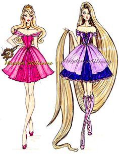 Moda Disney. Aurora e Rapunzel, por Hayden Williams.