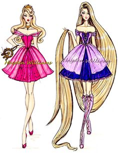 Croquis Hayden Williams - Aurora e Rapunzel