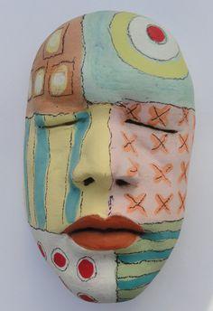 Ceramic sculpture Mask of Celebration  Mask by Mudgoddess on Etsy, $165.00