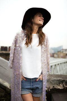 Rock 'n' Roll Style ☆ Gala Gonzalez wearing Adolfo Dominguez coat Gala Gonzalez, Sequin Kimono, Sequin Jacket, Sequin Cardigan, Sequin Coats, Bodycon Dress With Sleeves, Wearing A Hat, Glamour, Bikini