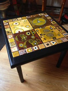 Up-Cycled bespoke hand-painted Klimt inspired coffee table by DooLallyAlleyArt on Etsy