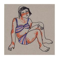 Chica original dibujo retrato ilustración figurativa playa
