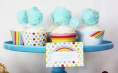 I love these rainbow and cloud cupcakes