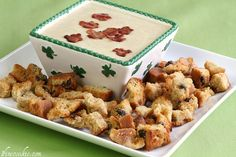 Savory Hard Irish Cider Dip. With Soda Bread Crutons and Shamrock Bacon Confetti.    http://www.1finecookie.com/2012/03/savory-hard-irish-cider-dip-with-soda-bread-crutons-and-shamrock-bacon-confetti/
