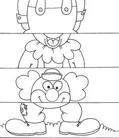 a desenhar Quebra cabeça palhaços e coelhos para recortar colorir