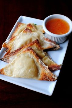 """Baked Crab Rangoon - love the recipes from """"Iowa Girl Eats""""! Yummy Appetizers, Appetizer Recipes, Seafood Recipes, Cooking Recipes, Crab Rangoon Recipe, Great Recipes, Favorite Recipes, Easy Recipes, Catering"""