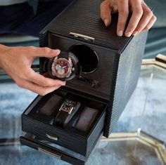 WOLF 460658 Single Blake Black Teju Lizard Watch Winder