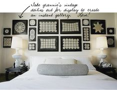 Such a great idea for using Grandma's doilies and giving it a fresh look....loving the black and white decor.