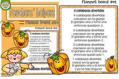 Flannelboard: 4 Funny Pumpkins in Spanish (4 Calabazas Divertidas)