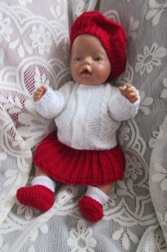 Knitted dolls clothes by ConnieGifts on Etsy Acrylic Wool, Baby Born, Knitted Dolls, Double Knitting, Doll Clothes, Red And White, Winter Hats, Crochet Hats, Handmade