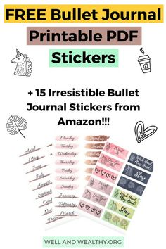 Want to add some flair, beauty and cute factor to your bullet journal? Well I've rounded up 15 irresistible bullet journal stickers that will enhance your planer to no end! Plus grab your FREE bullet journal sticker PDF printable as well! Bullet Journal How To Start A, Bullet Journal Mood, Bullet Journal Layout, Bullet Journal Inspiration, Bullet Journals, Printable Planner Stickers, Journal Stickers, Free Printable, Planners