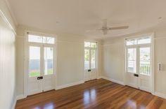 Renovating a Queenslander: Reclaimed french doors in the rumpus room
