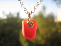 SEA GLASS Necklace Sterling Silver Rare Red Orange Pendant Real Surf Tumbled Genuine Beach Sea Glass Jewelry N /248 on Etsy, $95.00