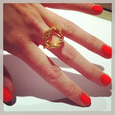 THE RENAISSANCE REBEL 18CT. Gold Vermeil Signet Ring being worn with red hot nail polish! To order a bespoke hand made ring please visit my online boutique www.rosie-sanders.com #18ct. #Gold #Vermeil #NeoClassical #Couture #Bespoke #Handmade #Designer #Jewellery