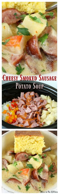 Comforting and delicious SLOW COOKER CHEESY SMOKED SAUSAGE AND POTATOES replace heavy cream