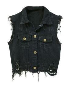 Vintage Black Distressed Denim Vests