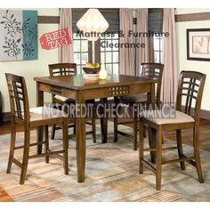 597 77 Rich Walnut Counter Height Dining Room Set 10133 Ch Dr Set